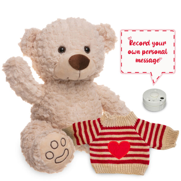 Cream Teddy Bear with soundbox and knitted heart jumper